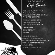 Join Us for a Delicious Mediterranean Dinner at Café Soriah's Tue., Mar. 19th and Benefit Relief Nursery